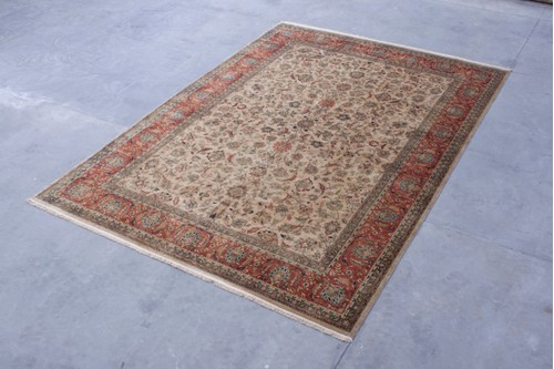 100% Wool Cream Very Fine Indo Persian Rug IPF030001 Handknotted in India with a 15mm pile