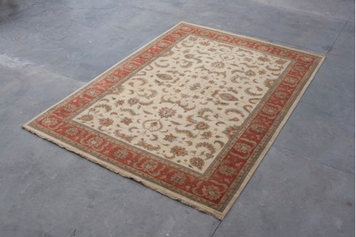 100% Wool Cream Indo Persian Keshan IPZ030082 Handknotted in India with a 18mm pile