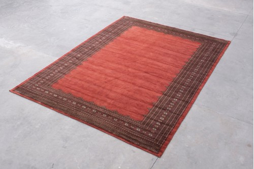 100% Wool Rust Fine Bokhara Plain Rug 4.17mx3.07m Handknotted in Pakistan with a 10mm pile