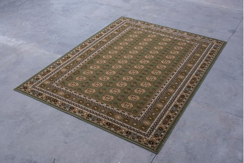 100% Wool Green Mohatta Woven Rug ZMO029750 Machine Woven in Moldova with a 10mm pile