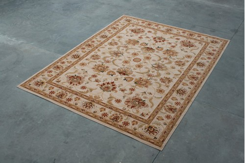 100% Wool Cream Mohatta Woven Rug ZMO029743 Machine Made in Moldova with a 10mm pile