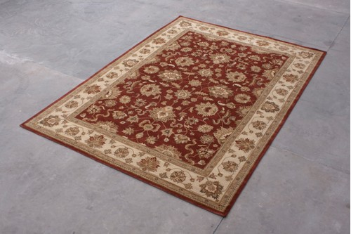 100% Wool Rust Indo Taj Rug Design HZV030074 Handmade in India with a 15mm pile