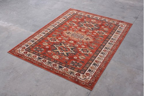 100% Wool Rust Mohatta Woven Rug ZMO029740 Machine Made in Moldova with a 10mm pile