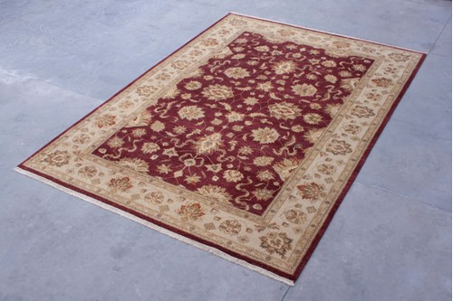 100% Twisted Argentine Wool Red Zeigler Indian Rug IZV030101 Handknotted in India with a 20mm pile