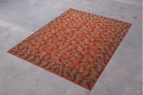 100% Wool Rust Mossoul Woven Rug ZMO029734 Machine Woven in Moldova with a 10mm pile