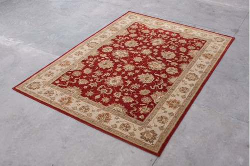 100% Wool Red Indo Taj Rug Design HZV030070 Handmade in India with a 15mm pile