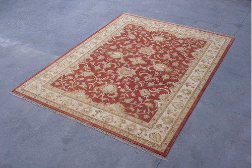 100% Wool Red Fine Indo Agra IPA029070 3.90 x 3.01 Handknotted in India with a pile