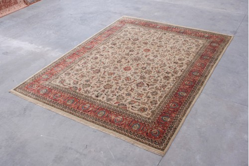 100% Wool Cream Very Fine Indo Persian Rug IPF033001 4.80m x 3.68m Handknotted in India with a 18mm pile