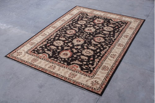 100% Wool Black Afghan Veg Dye Rug AVE030C73 415 X 312 Handknotted in AFghanistan with a pile