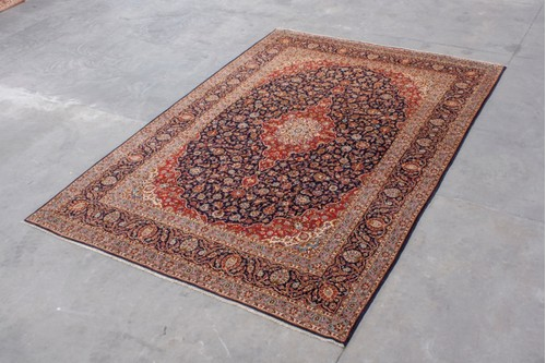 100% Wool Blue Persian Keshan Rug KES031046 4.60 x 3.15 Handknotted in Iran with a 15mm pile