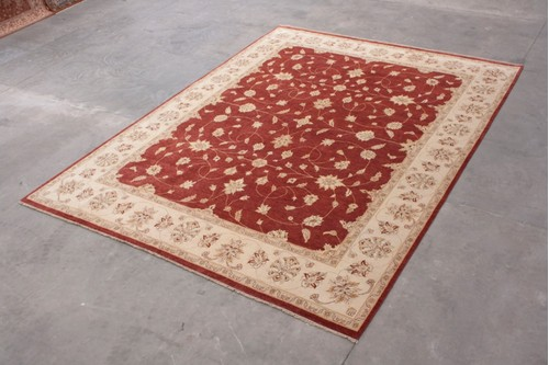 100% Wool Rust Indo Agra Rug Design IZA033074 4.95m x 3.69m Handknotted in India with a 20mm pile