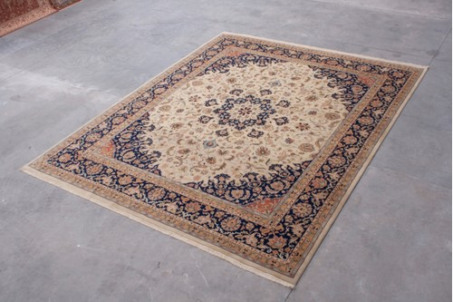 100% Wool Cream Indo Persian Meshed Rug Design IPM033084 4.57 x 3.64 Handknotted in India with a 15mm pile