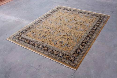 100% Wool Gold Very Fine Indo Persian Rug Design IPF033003 Handknotted in India with a 12mm pile
