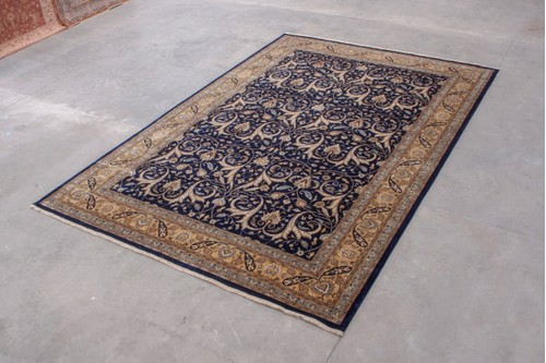 100% Wool Blue Very Fine Indo Persian Rug Design IPF035004 Handknotted in India with a 12mm pile
