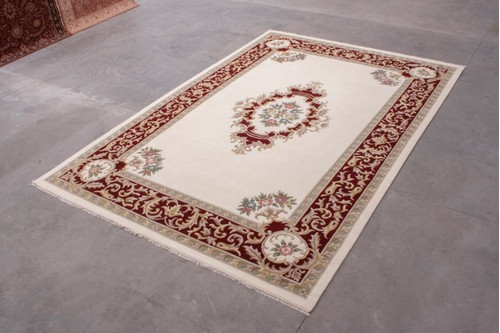 100% Wool Cream Super Rajbik Rug RAJ035015 Handknotted in India with a 20mm pile