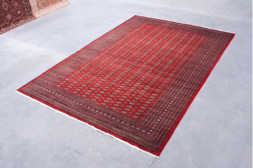 100% Wool Red Fine Pakistan Bokhara Rug Design BOK035052 Handknotted in Pakistan with a 10mm pile