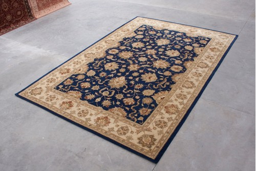 100% Wool Blue Indo Taj Rug Design HZV035088 Handmade in India with a 15mm pile