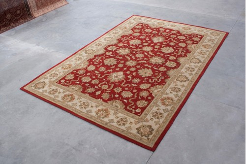 100% Wool Red Indo Taj Rug Design HZV035070 Handmade in India with a 15mm pile
