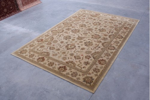 100% Wool Cream Indo Taj Rug Design HZV035075 Handmade in India with a 15mm pile