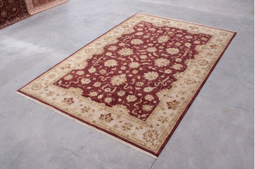 100% Twisted Argentine Wool Red Ziegler Indian Rug IZV035101 Handknotted in India with a 12mm pile