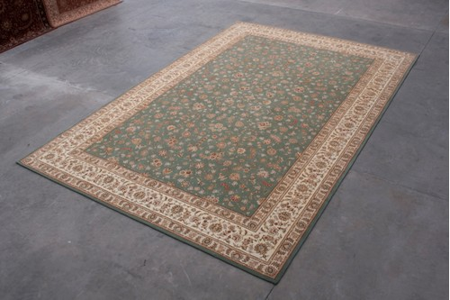 95% Wool / 5% Silk Green Royal Yelmi Rug Design CWS035276 Handtufted in China with a 12mm pile
