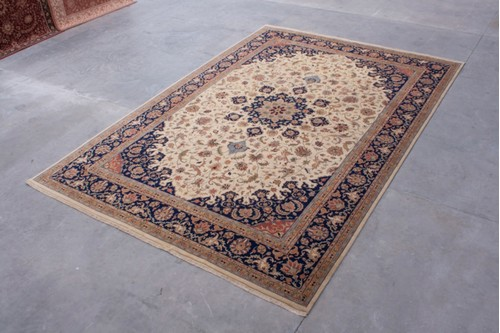 100% Wool Multi Indo Persian Meshed Rug IPM035C84 Handknotted in India with a 18mm pile
