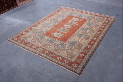 100% Wool Multi Turkish Milas Rug TML035CHE Handknotted in Turkey with a 8mm pile