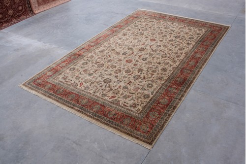 100% Wool Cream Very Fine Indo Persian Rug Design IPF035001 Handknotted in India with a 12mm pile