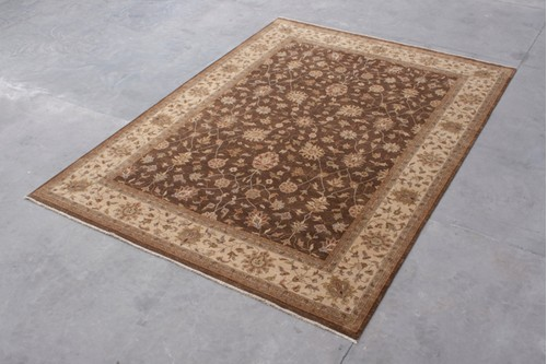 100% Twisted Argentine Wool Brown Jaipur Gazni Indian Rug Design IJG030053 Handknotted in India with a 12mm pile