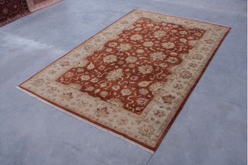 100% Twisted Argentine Wool Rust Ziegler Indian Rug Design IZV035074 Handknotted in India with a 12mm pile