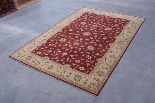 100% Twisted Argentine Wool Red Jaipur Gazni Indian Rug Design IJG035070 Handknotted in India with a 12mm pile