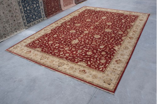 100% Twisted Argentine Wool Red Ziegler Indian Rug IZV037070 Handknotted in India with a 12mm pile