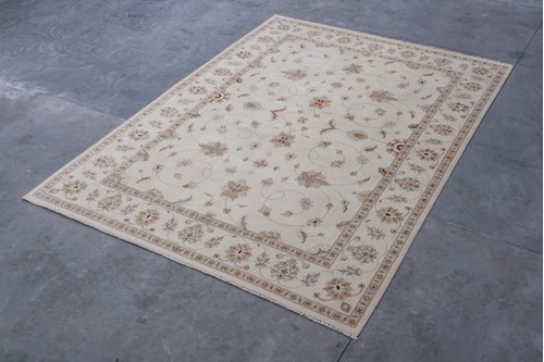 100% Wool Cream Indo Agra Rug Design IZA030075 Handknotted in India with a 20mm pile