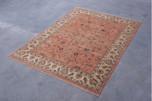 100% Twisted Argentine Wool Rose Ziegler Indian Rug Design IZV030095 4.00 x 2.93 Handknotted in India with a 12mm pile
