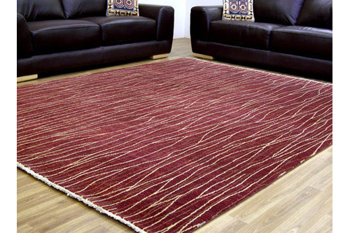 100% Twisted Argentine Wool Red Mystic Modern Indian Rug Design Handknotted in India with a 12mm pile