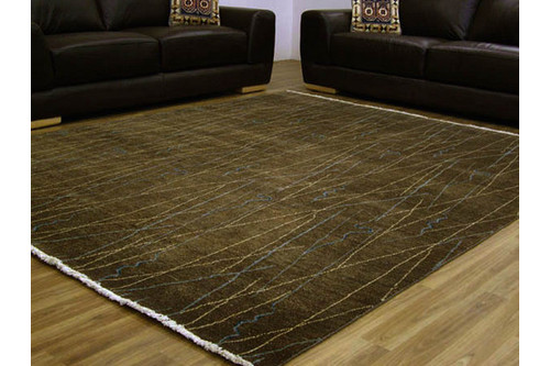 100% Twisted Argentine Wool Brown Mystic Modern Indian Rug Design Handknotted in India with a 12mm pile