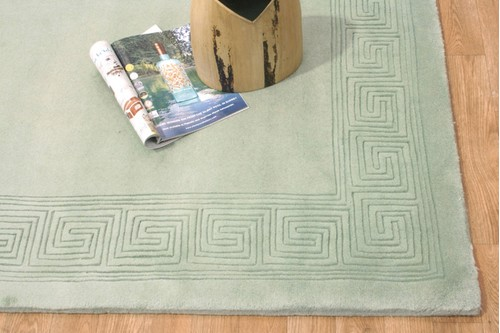 100% Wool Green Plain Carved Chinese. Handknotted in China with a 25mm pile