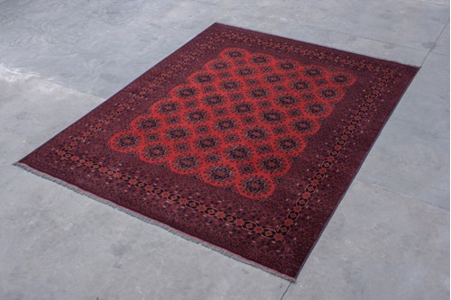 100% Wool Red Afghan Kundoz Rug AKU029000 388x300 Handknotted in Afghanistan with a 6mm pile