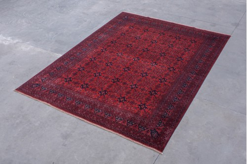 100% Wool Red Afghan Kundoz Rug AKU029FIN 396 x 295 Handknotted in Afghanistan with a 5mm pile