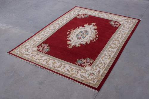 100% Wool Red Super Rajbik Indian RAJ030016 Handknotted in India with a 20mm pile