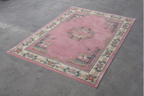 100% Wool Rose Premier Superwashed Chinese rug Handknotted in China with a 25mm pile
