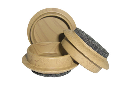 44mm Felt Based. castor cup Ideal for putting under Chair and Table legs. in Help to protect your Wooden and Carpeted floors. with a Wood Light Grain High Sided Castor Cups. pile