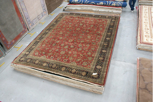 100% Wool Red Very Fine Indo Persian Rug Design IPF033002 4.53 x Handknotted in India with a 12mm pile