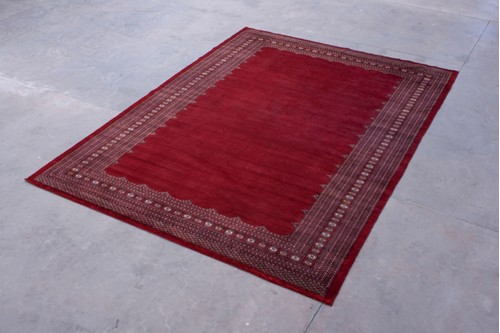 100% Wool Red Pakistan Bokhara Rug BOF030061 4.23mx3.13m Handknotted in Pakistan with a 10mm pile