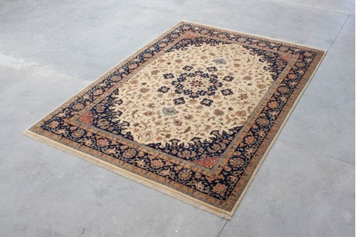 100% Wool Cream Indo Persian Meshed Rug IPM030084 4.23mx2.98m Handknotted in India with a 20mm pile