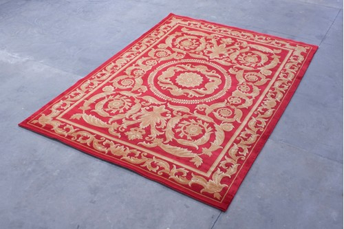 100% Wool Red Premier Superwashed Chinese Rug PSW030541 Handknotted in China with a 25mm pile