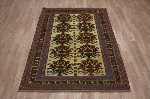 100% Wool Cream Afghan Baarjaasta Rug ABA017000 1.68 x 1.13 Handknotted in Afghanistan with a 8mm pile