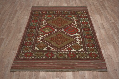 100% Wool Cream Afghan Baarjaasta Rug ABA018000 1.84 x 1.24 Handknotted in Afghanistan with a 8mm pile