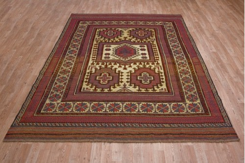 100% Wool Cream Afghan Baarjaasta Rug ABA023000 2.72 x 1.92 Handknotted in Afghanistan with a 8mm pile