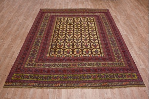 100% Wool Cream Afghan Baarjaasta Rug ABA023000 2.72 x 2.00 Handknotted in Afghanistan with a 8mm pile